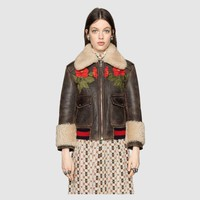 """Gucci"" Women Loose Fashion Flower Letter Embroidery Zip Cardigan Thickened Long Sleeve Leather Clothes Lambswool Coat"