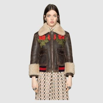 """""""Gucci"""" Women Loose Fashion Flower Letter Embroidery Zip Cardigan Thickened Long Sleeve Leather Clothes Lambswool Coat"""