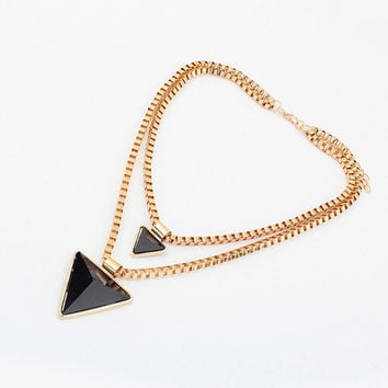 Black and Gold Triangle Pendant Layered Necklace