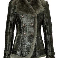 Balmain - Embossed Leather Jacket with Shearling Lining