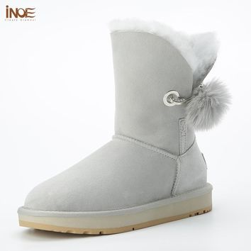 2018 New style real sheepskin leather fur lined women winter snow boots with rhinestone and fur pom-pom brooch winter shoes grey