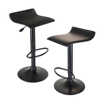 Obsidian Adjustable Swivel Air Lift Stool, Backless, Black PVC Seat, Black Metal Post & Base