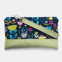 Hippie Floral Wristlet Clutch Purse, Lime Green Psychedelic Clutch Bag, Detachable Wristlet, Botanical Spring Fashion