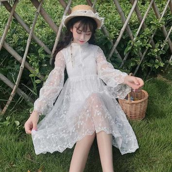 Spring summer Lolita Fairy Princess embroidered lace Flare Sleeve sweet white girls dress Japanese Mori girl temperament dress