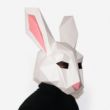 Make your own Rabbit Mask, Animal Head, Instant Pdf download, DIY Eastern Mask, Paper Mask, 3D Pattern, Polygon Masks,  Eastern Bunny