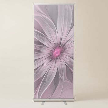 Pink Flower Waiting For A Bee Abstract Fractal Art Retractable Banner