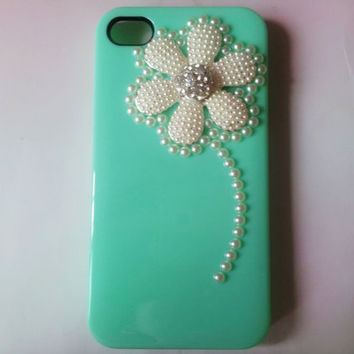 iphone 4s case cover white beads flower green hard case cover for iphone 4G 4GS AB50