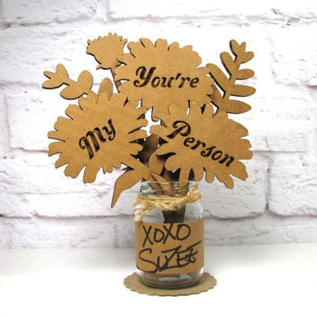 YOU'RE My PERSON - Corrugated Cardboard Flowers Bouquet In Mini Mason Jar Great Gift Idea