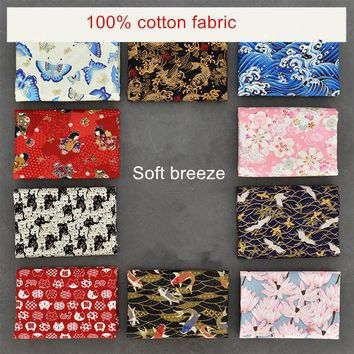 half meter handmade pure cotton fabric with butterfly sakura red-crowned crane wave print, Japanese soft breeze cloth CR-977
