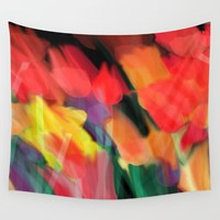 Meadow Flowers At Night Abstract Wall Tapestry by Jen Warmuth Art And Design
