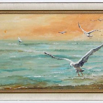 Small 1940s CA Seascape Oil Painting Listed Artist Henry Ketting Olivier Framed