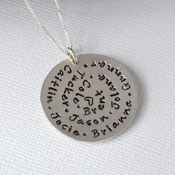 Personalized Hand-Stamped Grandmother Necklace- Spiral Stamped Sterling Silver Necklace