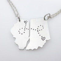 LDRSHIP State set  matching Long distance relationship necklaces Maps  States  jewelry  LDR  Long Distance Love - can be made into keychains
