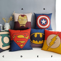 Avergers Superman Batman Green Lantern Captain America Iron Man cotton pillowcase pillow on the sofa cushion lumbar pillow