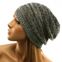 Light Thin Vented Soft Knit Long Beanie Slouchy Slouch Skull Hat Cap Black White
