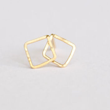 Diamond Shaped Earrings - 14k Gold or Sterling Silver Earrings - Geometric Earrings - Gold Studs - Minimalist - Hammered Metal - Hand Forged