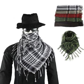 Hunting Army Military Keffiyeh Shemagh Tactical Multifunction Arabic Scarf Shawl Neck Cover Head Wrap for  Hiking Airsoft