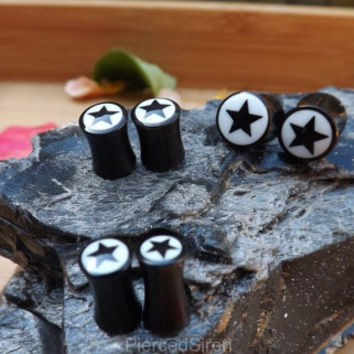 Horn buffalo plugs organic pair flesh tunnels star bone inlay ear unique gauges plug double jewelry girly saddle flaired stretched lobes