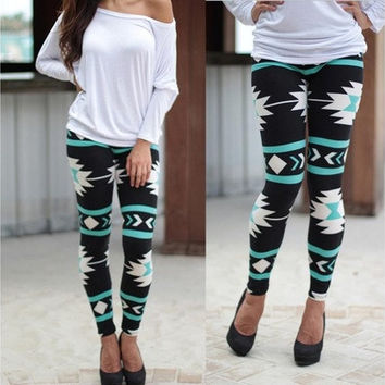 Skinny Geometric Print pattern Stretchy Pants Leggings