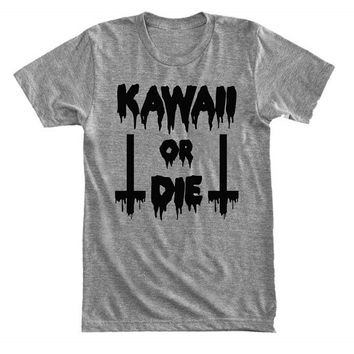 Kawaii or die - inverted cross - Dripping & melting style - Gray/White Unisex T-Shirt - 033
