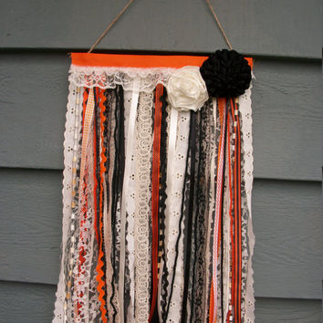 Halloween Fall Flag Banner Wall Hanging Bats Spooky Vintage Lace Rustic Cottage Chic