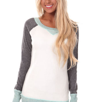 Powder Blue Round Neck Long Sleeve Sweater with Contrast Trim and Sleeves
