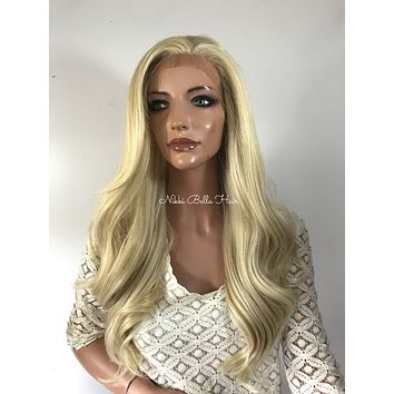 Light Ash Blond Waves Human Hair Blend Multi Parting Lace Front Wig - Reagan