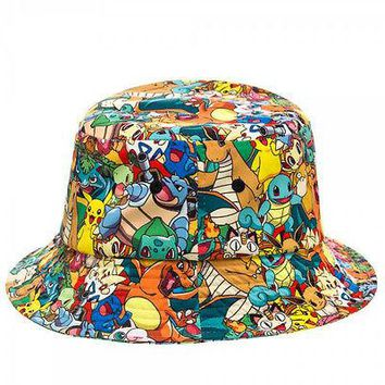 Pokemon Pikachu Squirtle Charizard Collage All Over Sublimated Bucket Cap Hat