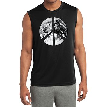 Buy Cool Shirts Peace T-shirt Earth Satellite Symbol Sleeveless Competitor Tee