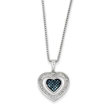 1/5 Ctw Blue & White Diamond Double Heart Necklace in Sterling Silver