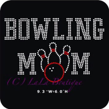 Bowling Iron on hotfix rhinestone heat transfer - red black bowling applique for shirts - DIY iron on hot fix sons bring it