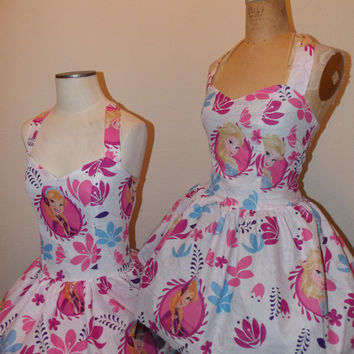 Frozen Elsa Anna Custom Made to Order Geekery Pin UP Sweet Heart Halter Ruffled mini dress