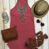 High Rise Ribbed Tunic Dress: Red