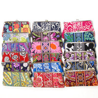 Vera Bradley Clutch Wallet Purse Handbag Double Kiss Lock Many Colors New V321