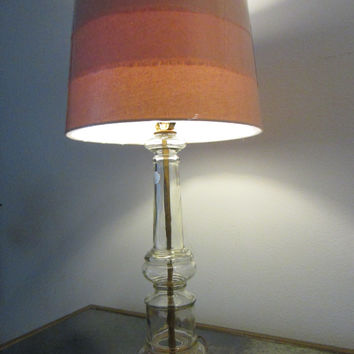 Italian Blown Glass Table Lamp Mid Century Drum Shade