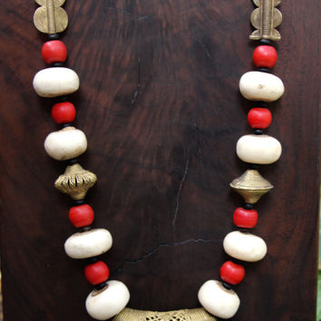 Red and White African Bead Necklace Vintage Red Glass w Creamy White Bone Beads from Kenya African Boho Tribal Jewelry