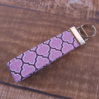 Ready To Ship Purple Lavender Gray Fob Wristlet Key Chain Fabric Key Chain