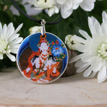 White Tara Pendant | Hindu Goddess of Peace and Protection Necklace | Hindu Jewelry | Personalized | White Tara Necklace | Polymer Clay