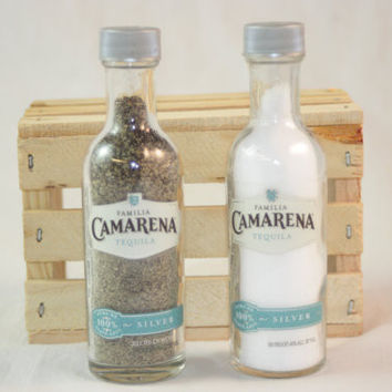 Salt & Pepper Shakers Upcycled from Camarena Tequila Glass Mini Liquir Bottles