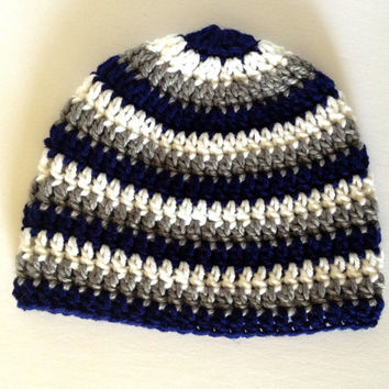 crochet baby hat, baby boy hat, striped hat, baby boy beanie, infant boy hat, 6 month boy, 1 year old boy, crochet infant hat, navy blue