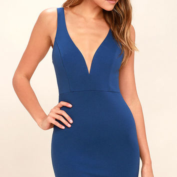 Perfect Pick Washed Navy Blue Bodycon Dress