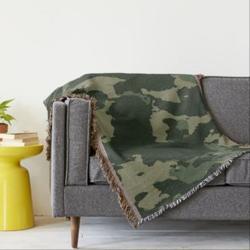 Camouflage Dark Green Gray Beige Camo Design Throw Blanket