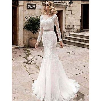 Mermaid / Trumpet Jewel Neck Court Train Lace / Tulle / Lace Over Satin Long Sleeve Plus Size Made-To-Measure Wedding Dresses with Appliques 2020