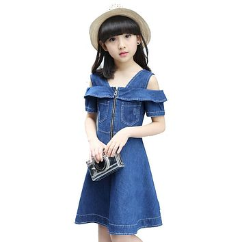 Girls Denim Dresses for Children Jean Clothes New Fashion Casual Dress Blue Short Sleeve Jeans