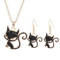 Hot Fashion Black/White Cat Jewelry Sets Animal Necklace Earrings jewelry sets as a Gift