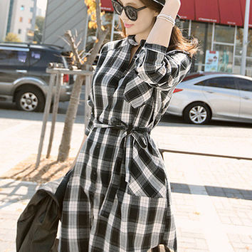 Plaid Long Sleeve Belted Long Blouse