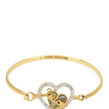 MOTHER OF PEARL HEART BANGLE BRACELET