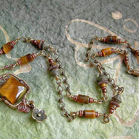 Golden Brass & Tiger Eye Necklace . Vintage Chain Necklace . Wire Wrap and Gemstone Necklace