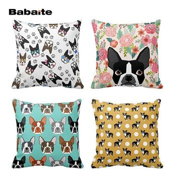 Boston Terrier Pillow -Vintage Flower Faces- Square Zippered Throw Pillow Cover