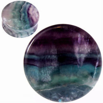 PAIR-RAINBOW FLUORITE Ear gauges -Ear Plugs-Flesh Ear Tunnels-Organic Ear Gauges